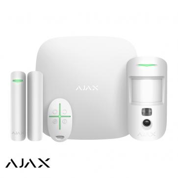 Ajax StarterKit Cam wit, Hub 2, MotionCam, DoorProtect, SpaceControl