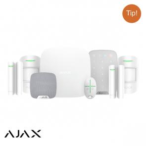 Ajax Hubkit LUXE WIT: GSM/LAN hub, 2 * pir, 2 * mc, afb, keypad, binnensirene