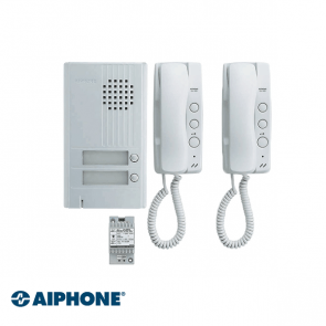 Aiphone Audio set 2 appartementen (DA-1MD x 2, DA-2DS x 1, PT-121DR x 1)