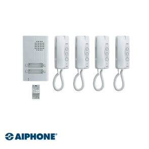 Aiphone Audio set 4 appartementen (DA-1MD x 4, DA-4DS x 1, PT-121DR x 1)