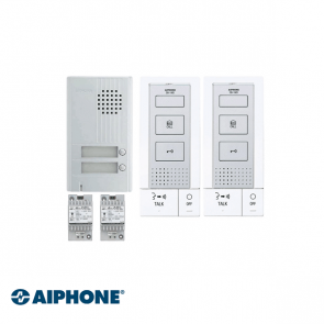 Aiphone Hands-free Audio set 2 appartementen (DB-1MD x 2, DA-2DS x 1, PT-121DR x 2)