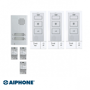 Aiphone Hands-free Audio set 3 appartementen (DB-1MD x 3, DA-4DS x 1, PT-121DR x 3)