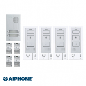 Aiphone Hands-free Audio set 4 appartementen (DB-1MD x 4, DA-4DS x 1, PT-121DR x 4)