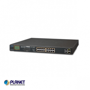 Planet 16-Port 10/100TX 802.3at PoE + 2-Port Gigabit TP/SFP Combo Ethernet Switch with LCD PoE Monitor (300W)