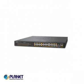 Planet IPv4, 24-Port Managed 802.3at POE+ Gigabit Ethernet Switch + 2-Port 100/1000X SFP (300W)