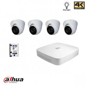 Dahua HDCVI kit: 4 kanaals DVR incl 1TB HDD, 4 x Dome, 4 x 1A voeding