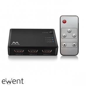 Ewent 4K HDMI Switch, toont 3 HDMI bronnen op een monitor