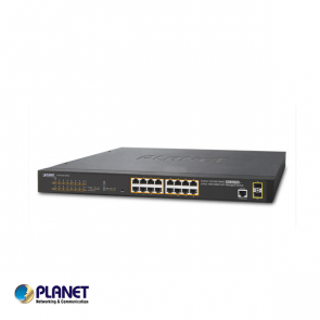 IPv6/IPv4, 16-Port Managed POE+ Gigabit Ethernet Switch + 2-Port 100/1000X SFP (220W)