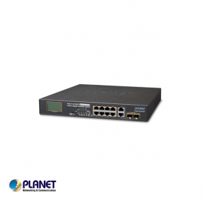 Planet 8-Port 10/100TX 802.3at PoE + 2-Port Gigabit TP/SFP combo Desktop Switch with LCD PoE Monitor (120W, Standard/VLAN/Extend mode)