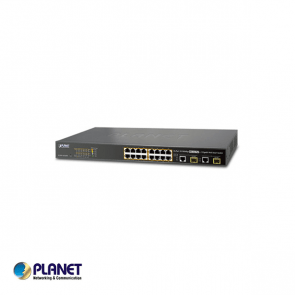Planet, 16-Port 10/100TX 802.3at High Power POE +  2-Port Gigabit TP/SFP Combo Managed Ethernet Switch (220W)