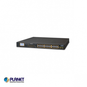 24-Port Gigabit 250M PoE + 2-Upload port Switch met LCD Monitor, VLAN