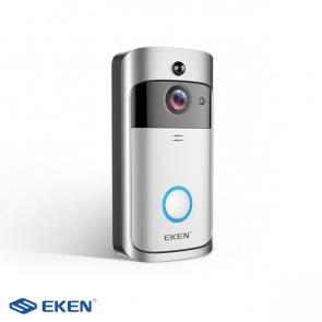 EKEN V5 video deurbel, incl externe bel en batterijen, bedraad en draadloos - Zilver