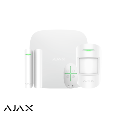 Ajax Hubkit, wit, GSM/LAN hub, PIR, deurcontact, afstandsbediening