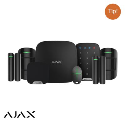 Ajax Hubkit LUXE ZWART: GSM/LAN hub, 2 * pir, 2 * mc, afb, keypad, binnensirene